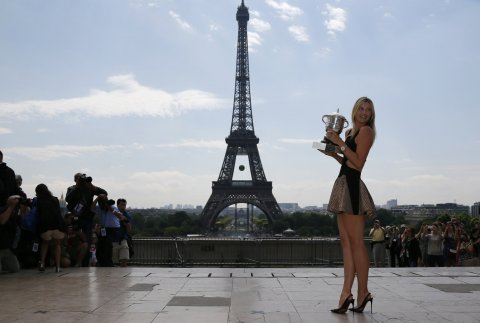 Maria Sharapova in Paris with the French Open trophy