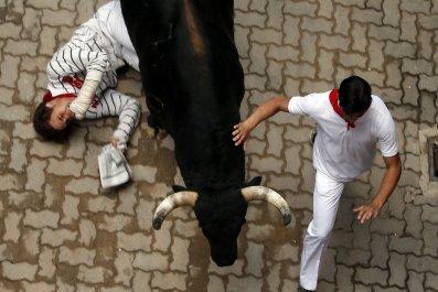 Running of the bulls in Pamplona