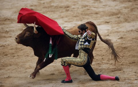 Bullfighter performing a pass