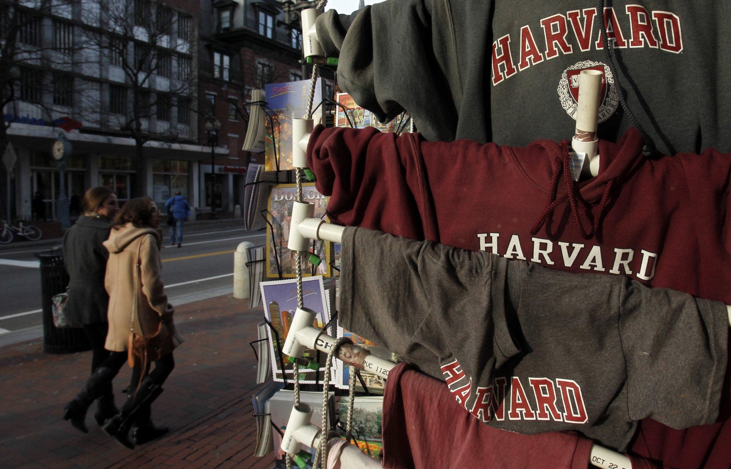 T-shirts for sale at Harvard University.