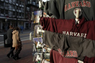 T-shirts for sale at Harvard University.