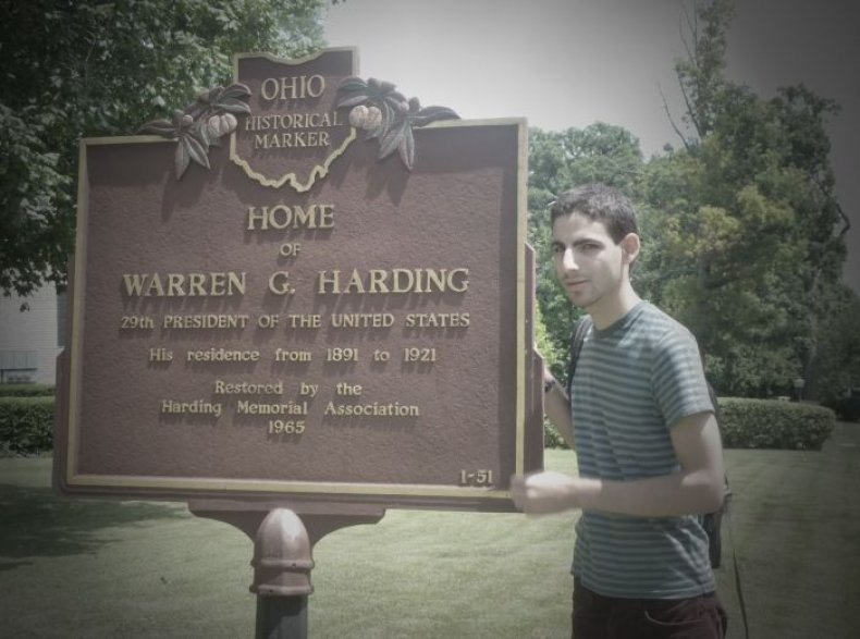 The author, pictured at Warren G. Harding's home in 2011.