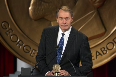 "Journalist Charlie Rose speaks after winning a Peabody Award for his work in ""One on One with Assad"" in New York May 19, 2014."