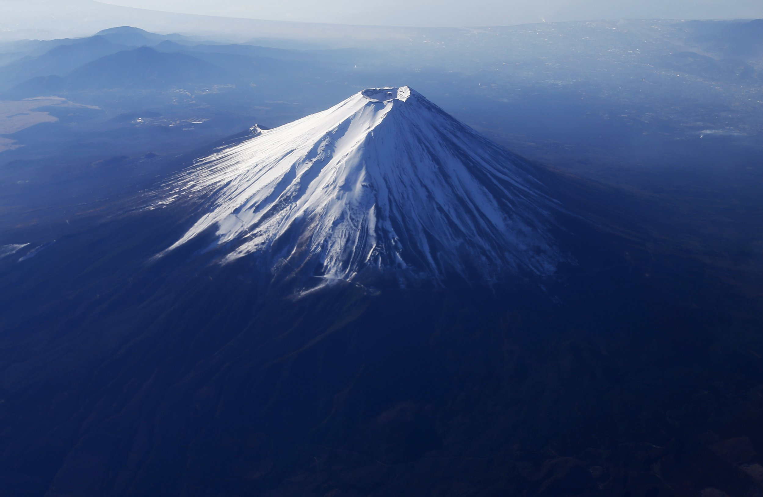 Mount Fuji, covered with snow.