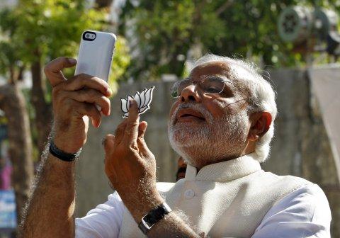 Modi poses for a selfie