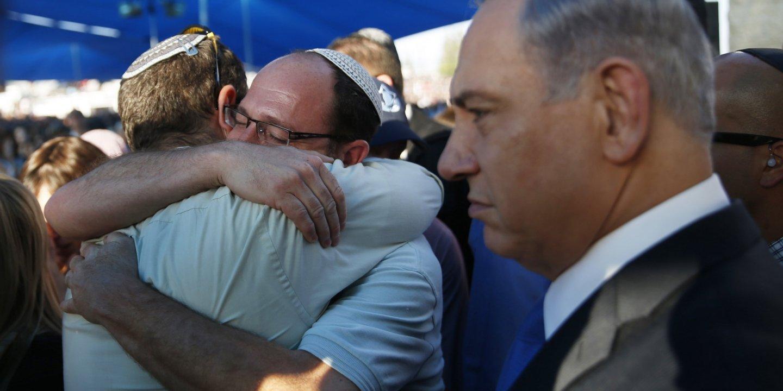 Netanyahu at funeral of Israeli teens