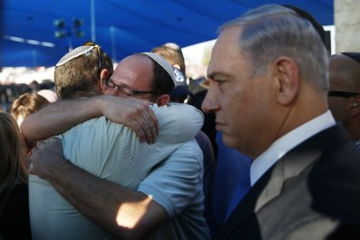 Netanyahu at funeral of Israeli teens