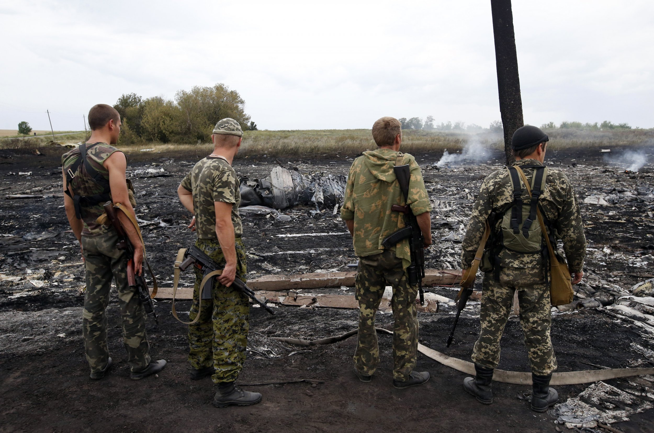 Pro-Russian separatists at site of plane crash