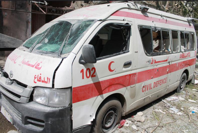 Bombed out ambulance in Gaza
