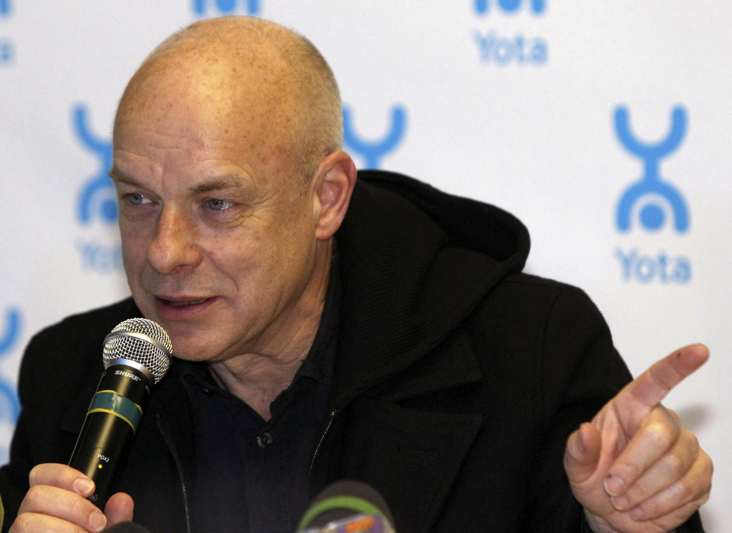 Music producer Brian Eno answers questions during a news conference in St. Petersburg November 29, 2010.