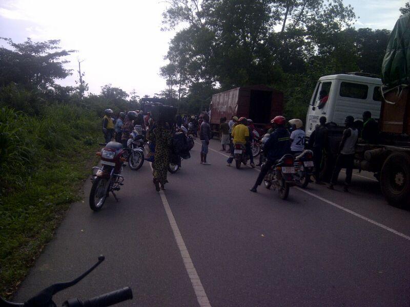 A blockade outside of Kenema, Sierra Leone
