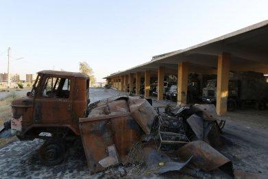 Damaged Syrian vehicles