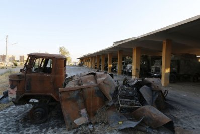 Damaged Syrian vehicles