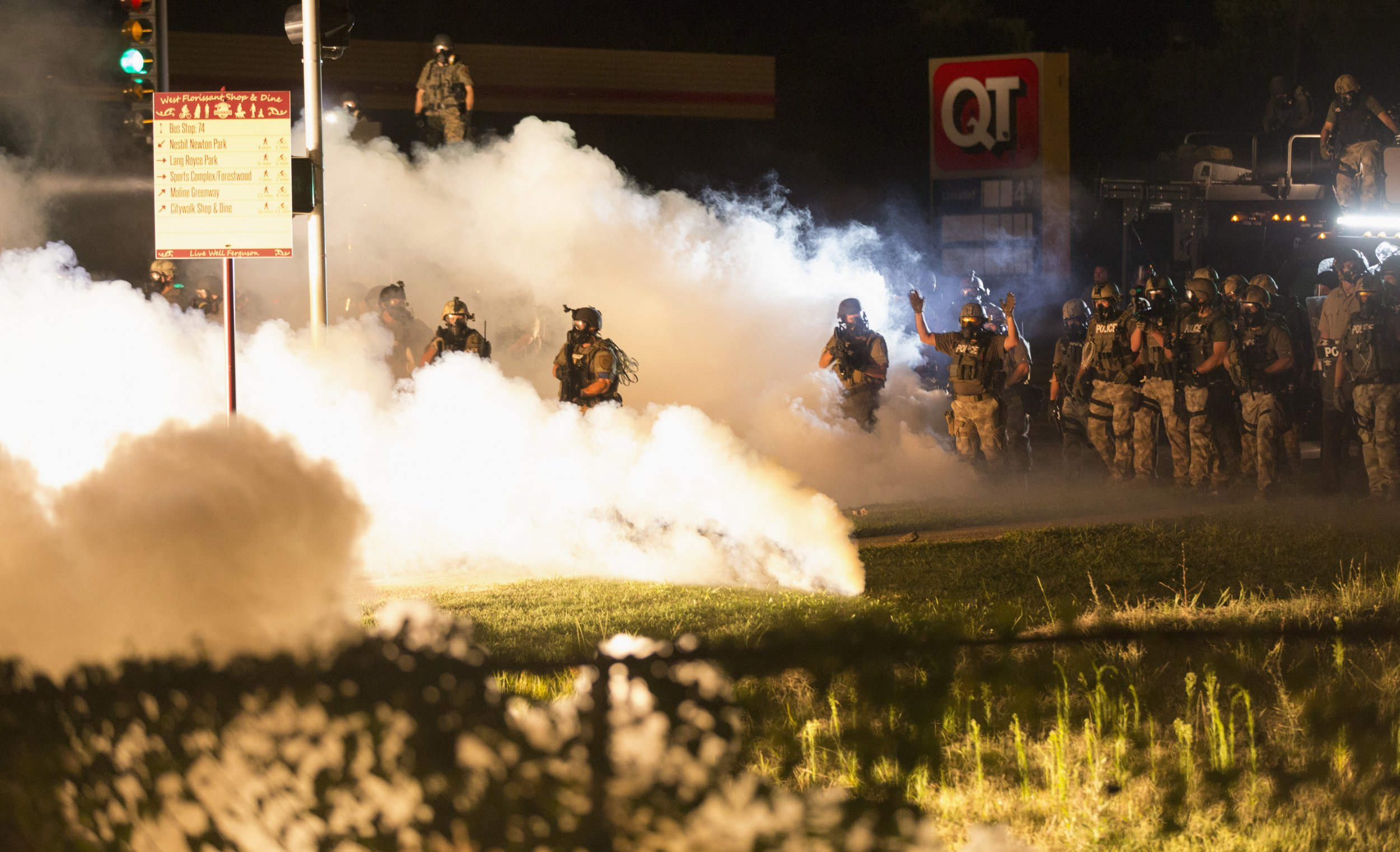 An attempt to restore order in 67% black Ferguson, where black rioters/looters/arsonists were put down by force