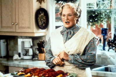 Robin Williams as Mrs. Doubtfire.