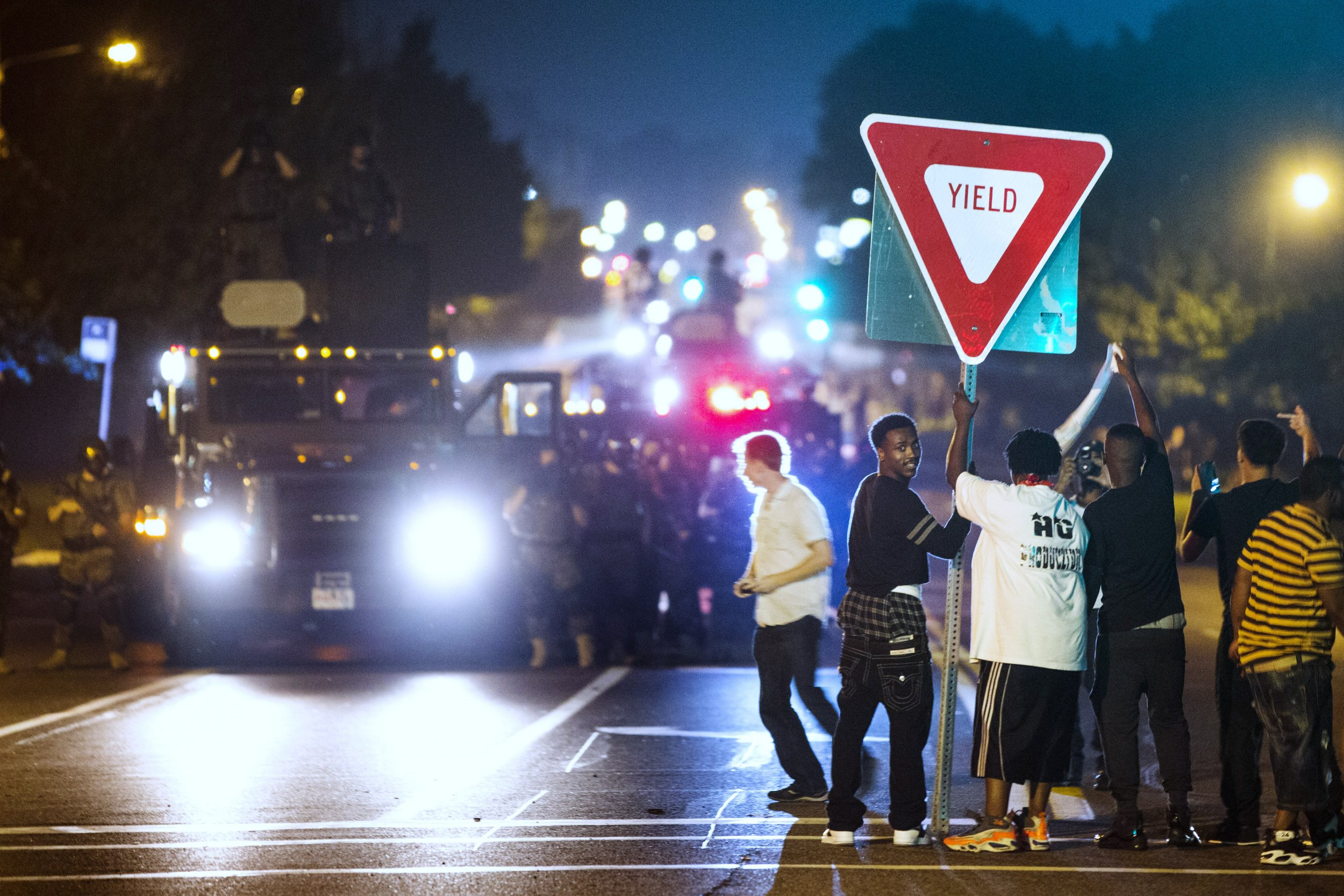 Ferguson police and protesters