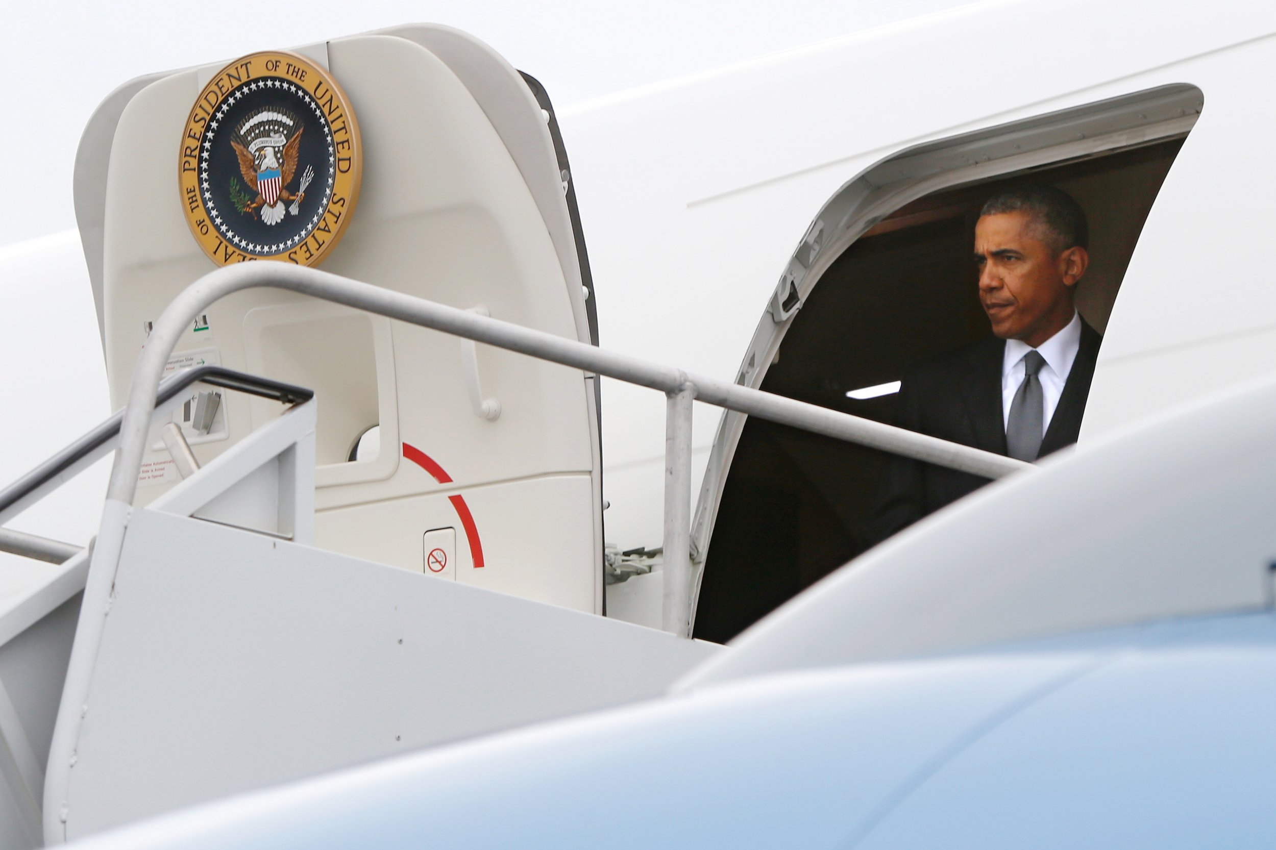 Obama aboard Air Force One