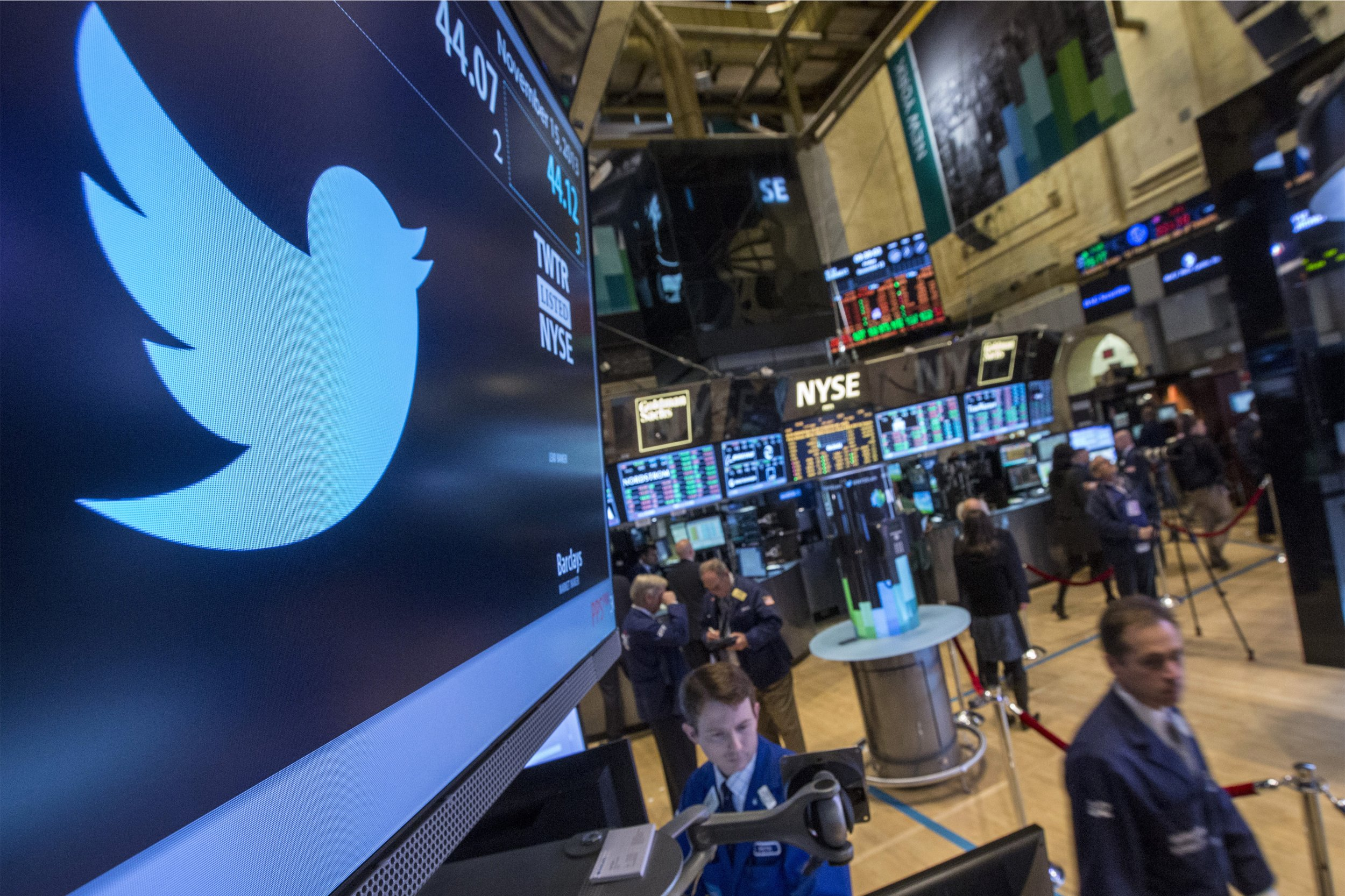 The Twitter symbol is displayed at the post where the stock is traded on the floor of the New York Stock Exchange, November 15, 2013.