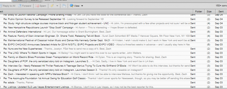 Replying to PR emails.