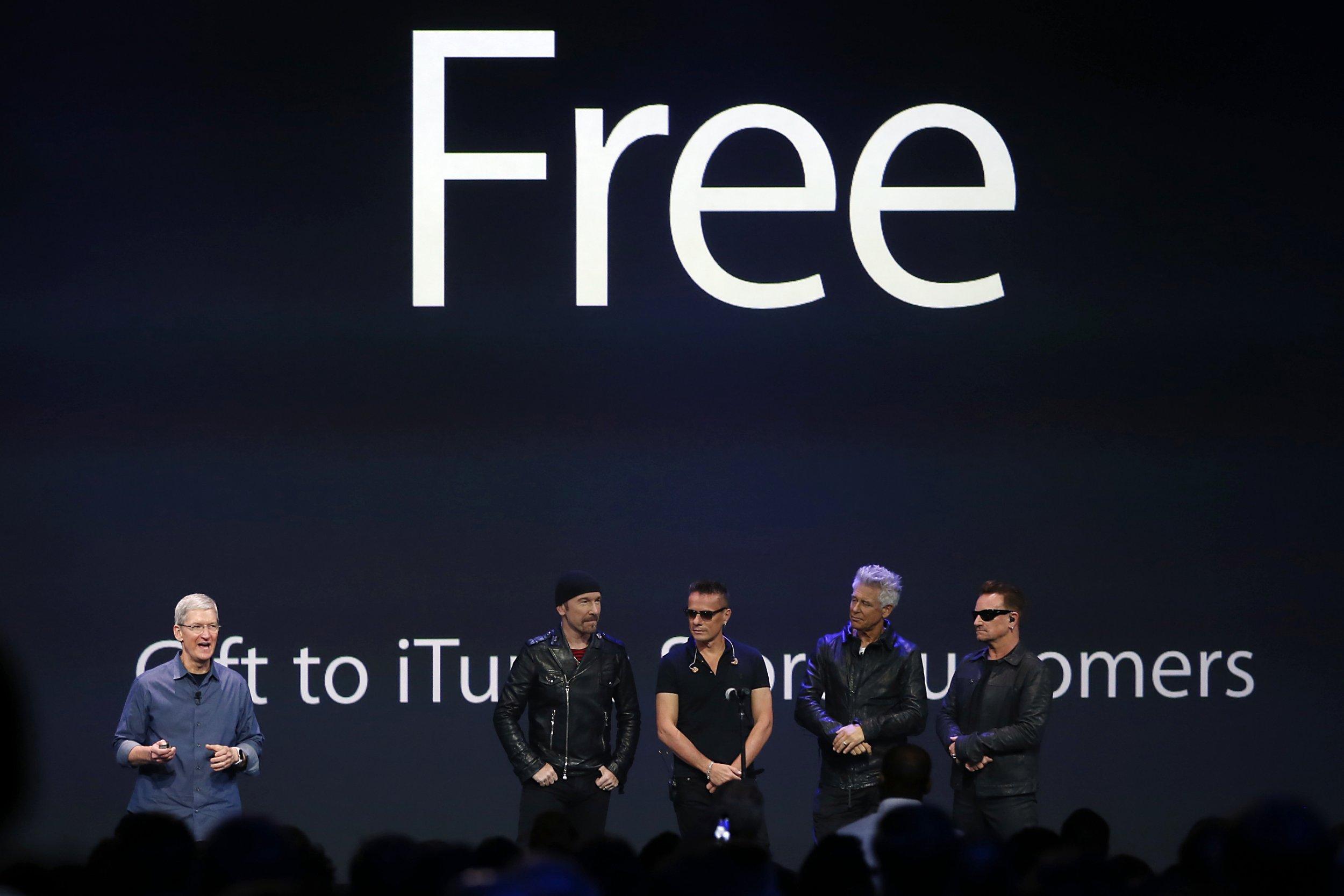 U2, with apple CEO Tim Cook.