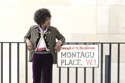 "André Benjamin as Jimi Hendrix in the drama/biopic ""JIMI: ALL IS BY MY SIDE,"" an XLrator Media release."