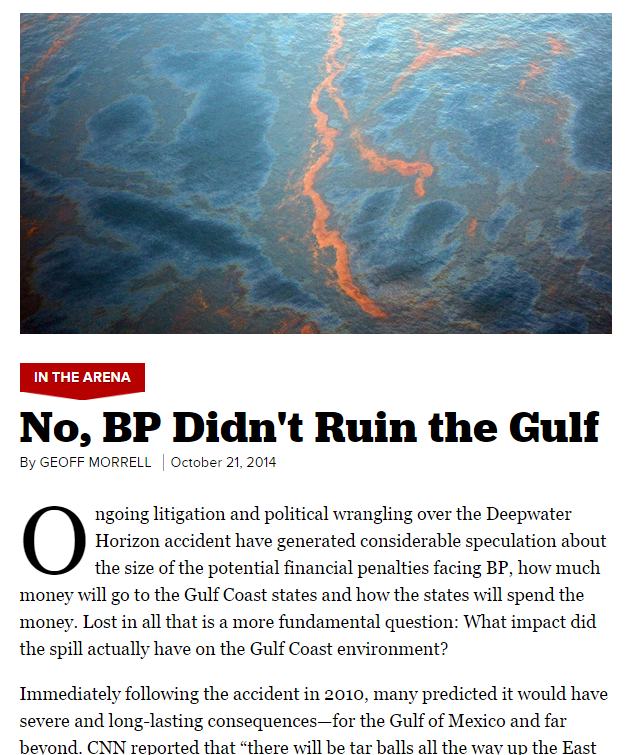 BP Oil Spill Didn't Ruin Gulf of Mexico, Says Politico Piece ...