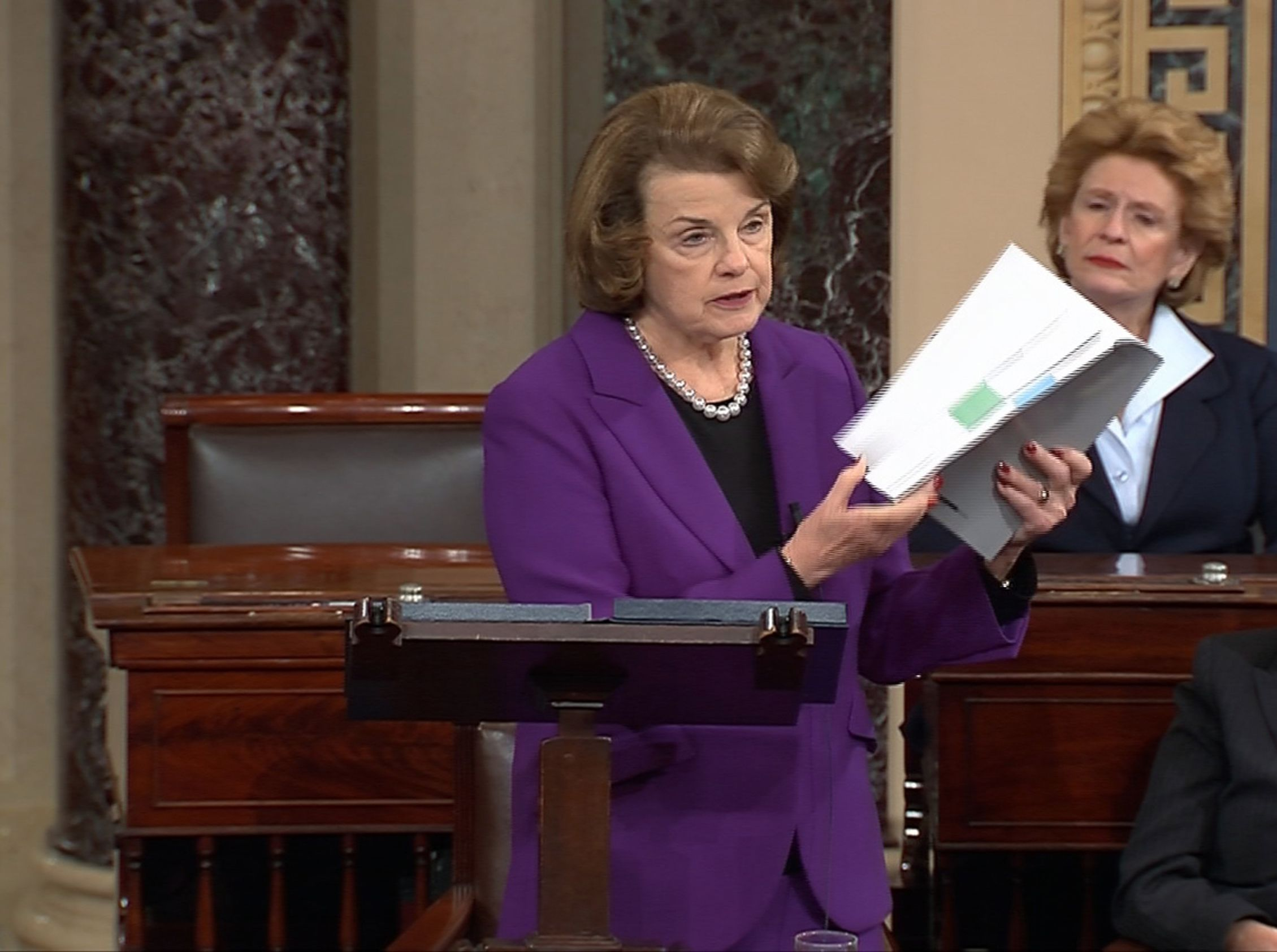 Dianne Feinstein with CIA torture report