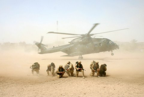 British helicopter lands during operation