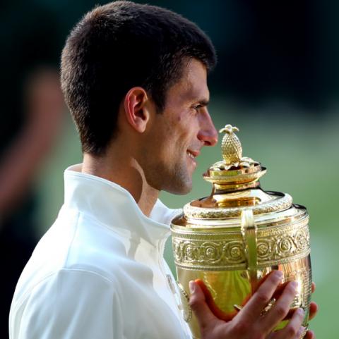 Novak Djokovic after winning the 2014 Wimbledon Men's Final