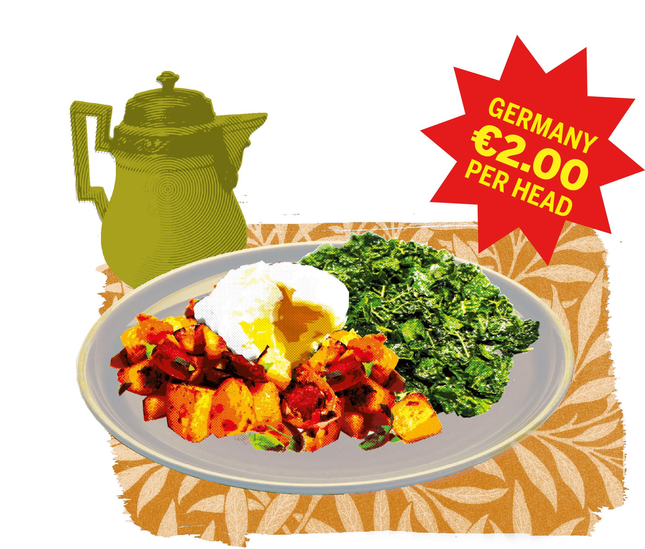chorizo and cubed potatoes with a poached egg on top. Dark green kale ...