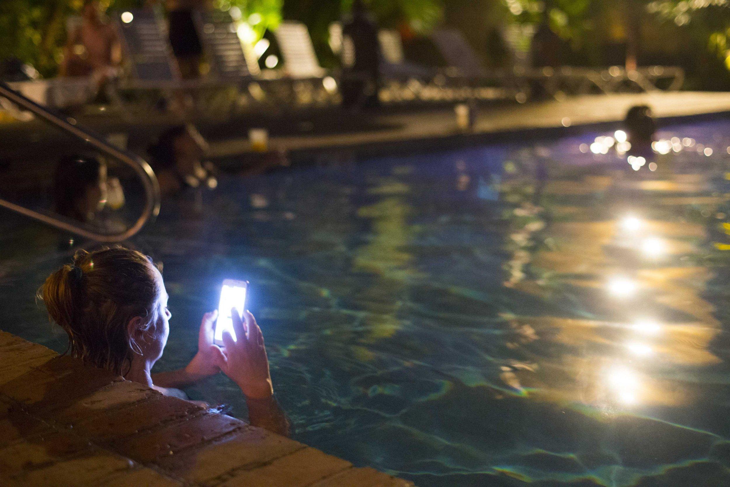 Phone at public pool