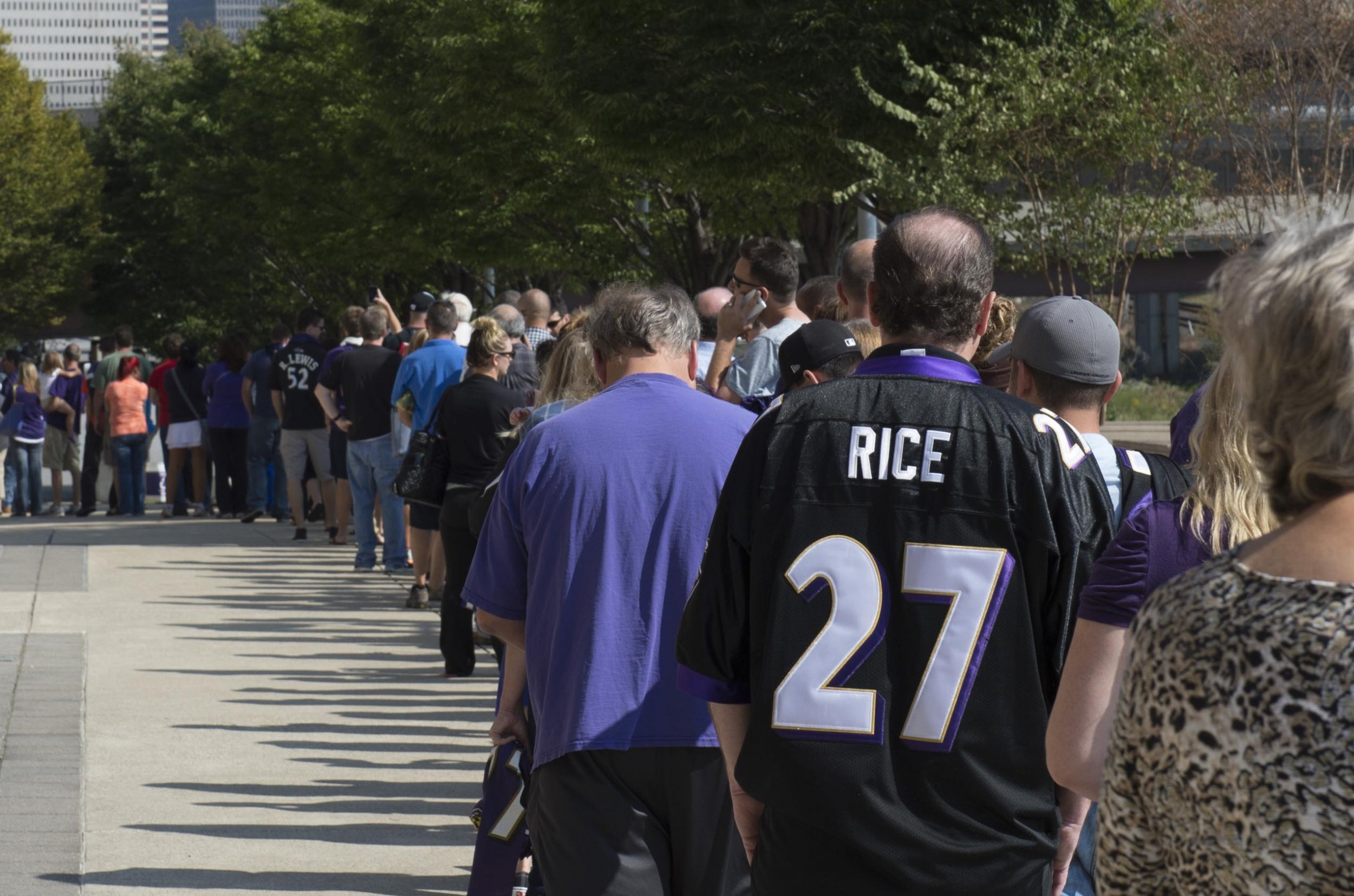 71dbca80d64 Baltimore Ravens fans wait in line over an hour to exchange their Ray Rice  jerseys for new NFL jerseys at M&T Bank Stadium. Tommy Gilligan/USA TODAY  Sports
