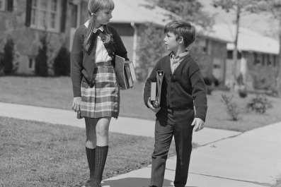 Young boy and girl in black & white