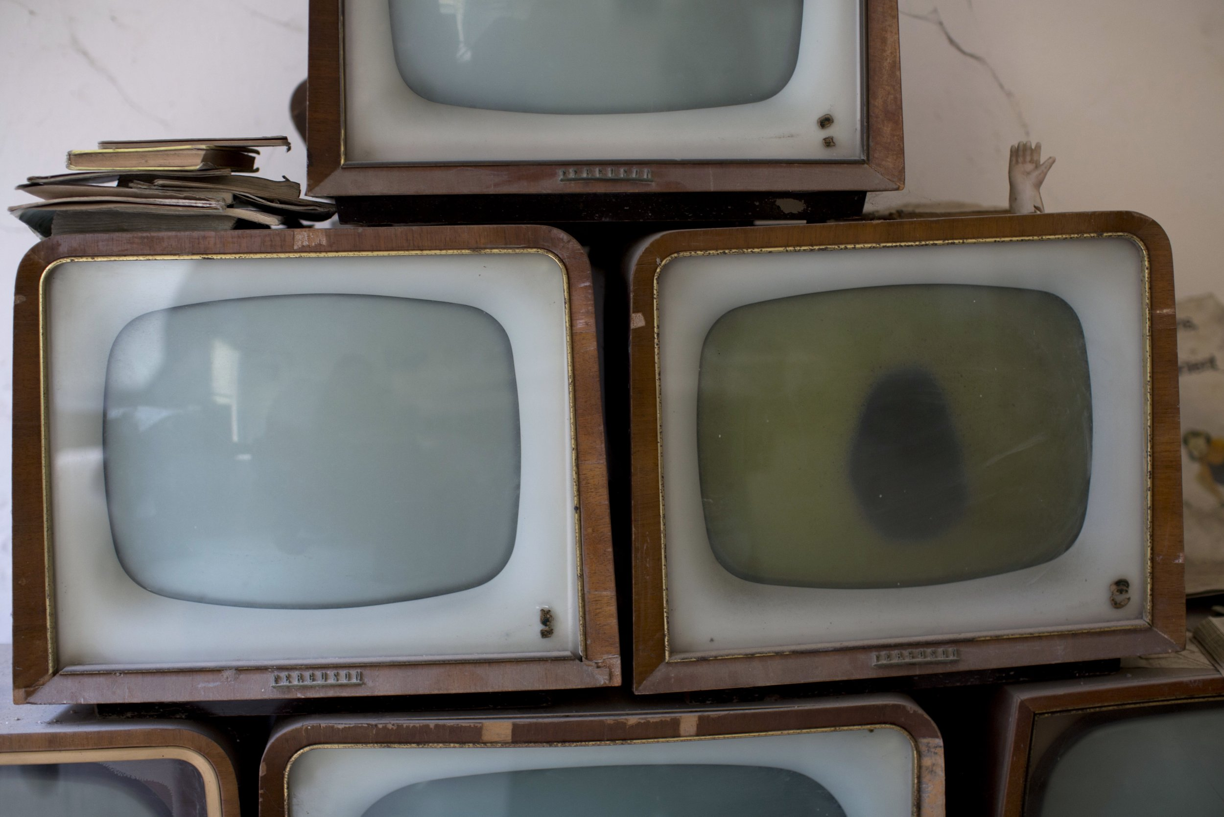 Old televisions.