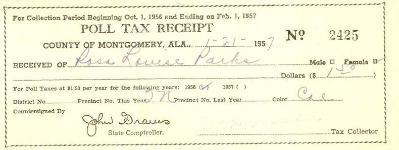 2-7-15 Parks poll tax receipt