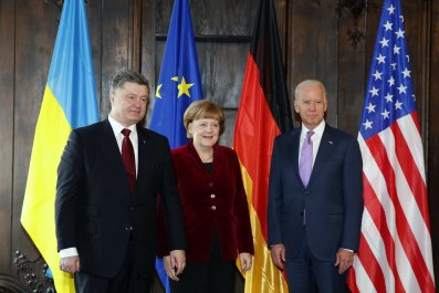 German Chancellor with Ukraine President and U.S. Vice President