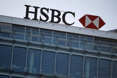 A HSBC logo pictured at a Swiss branch of the bank in Geneva