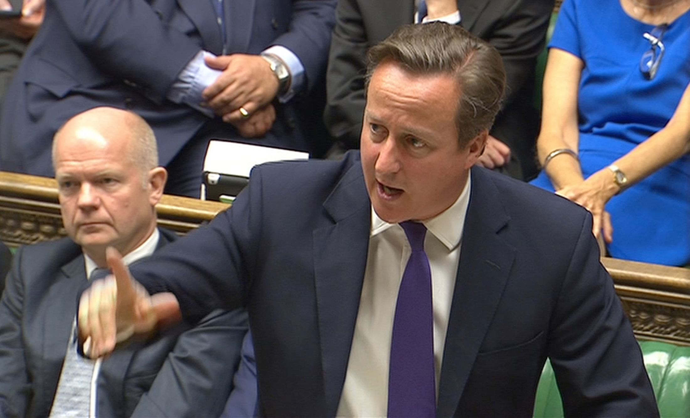Britain's Prime Minister David Cameron addressing the House of Commons in central London