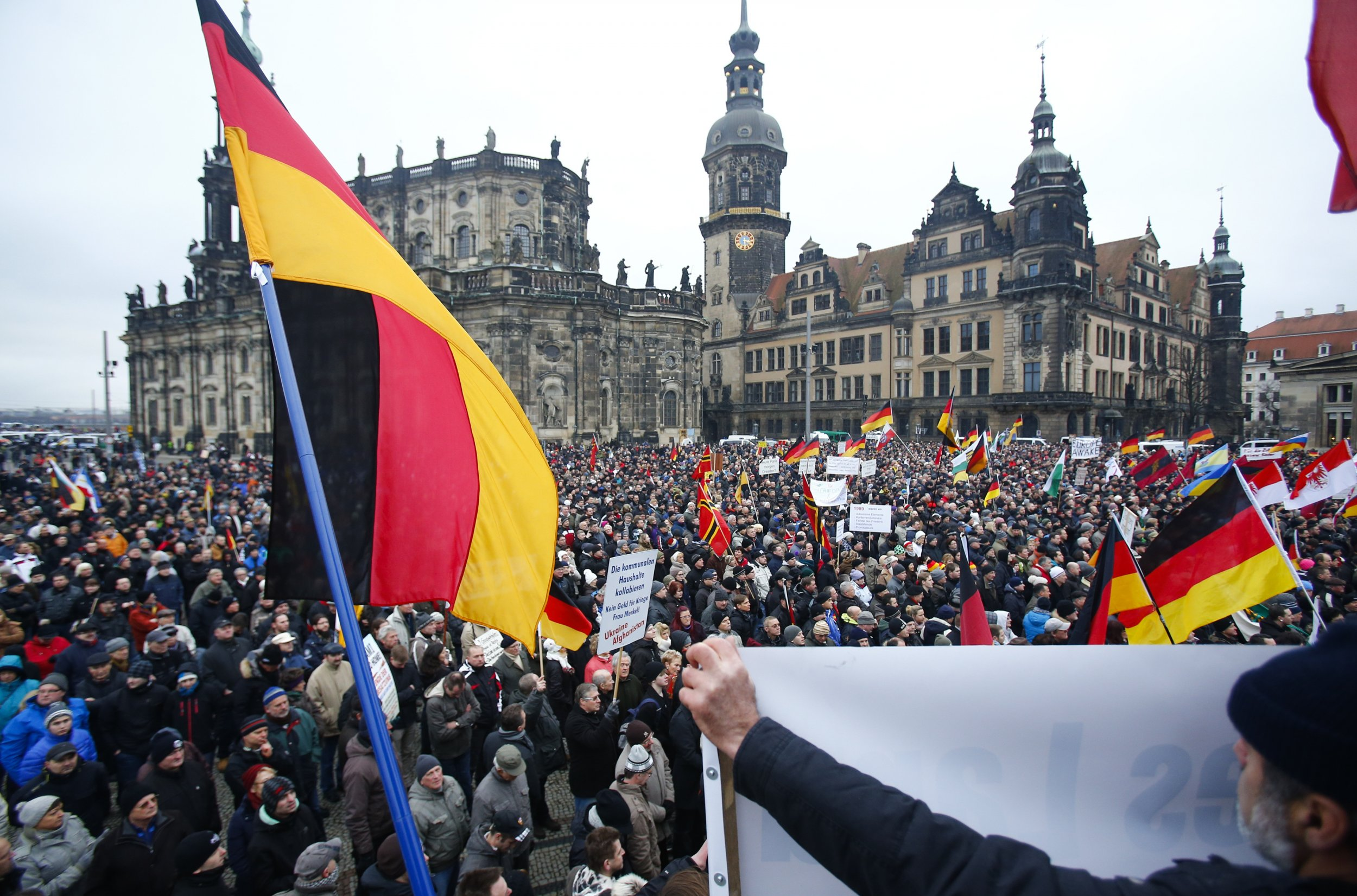 PEGIDA members demonstrate in Dresden