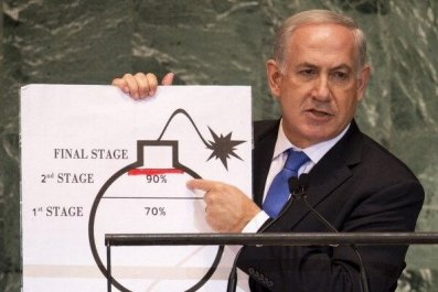 Israeli Prime Minister Benjamin Netanyahu uses a diagram of a bomb to describe Iran's nuclear program. Don Emmert/AFP/GettyImages