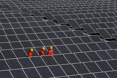 Solar panels at a solar power plant in Zhejiang province, China.