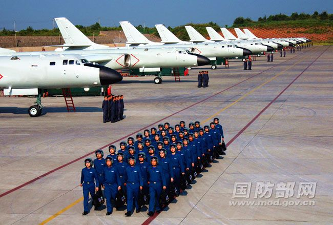 Chinese bombers lined up at an undisclosed airfield