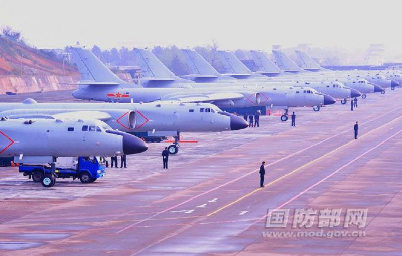Chinese bombers lined up on an undisclosed airfield