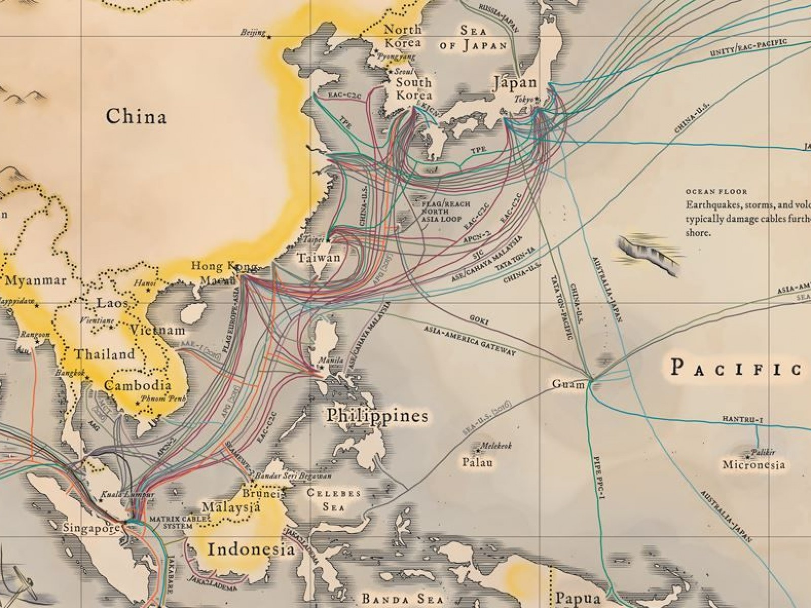 Map Of Asia Via Satellite.Undersea Cables Transport 99 Percent Of International Data