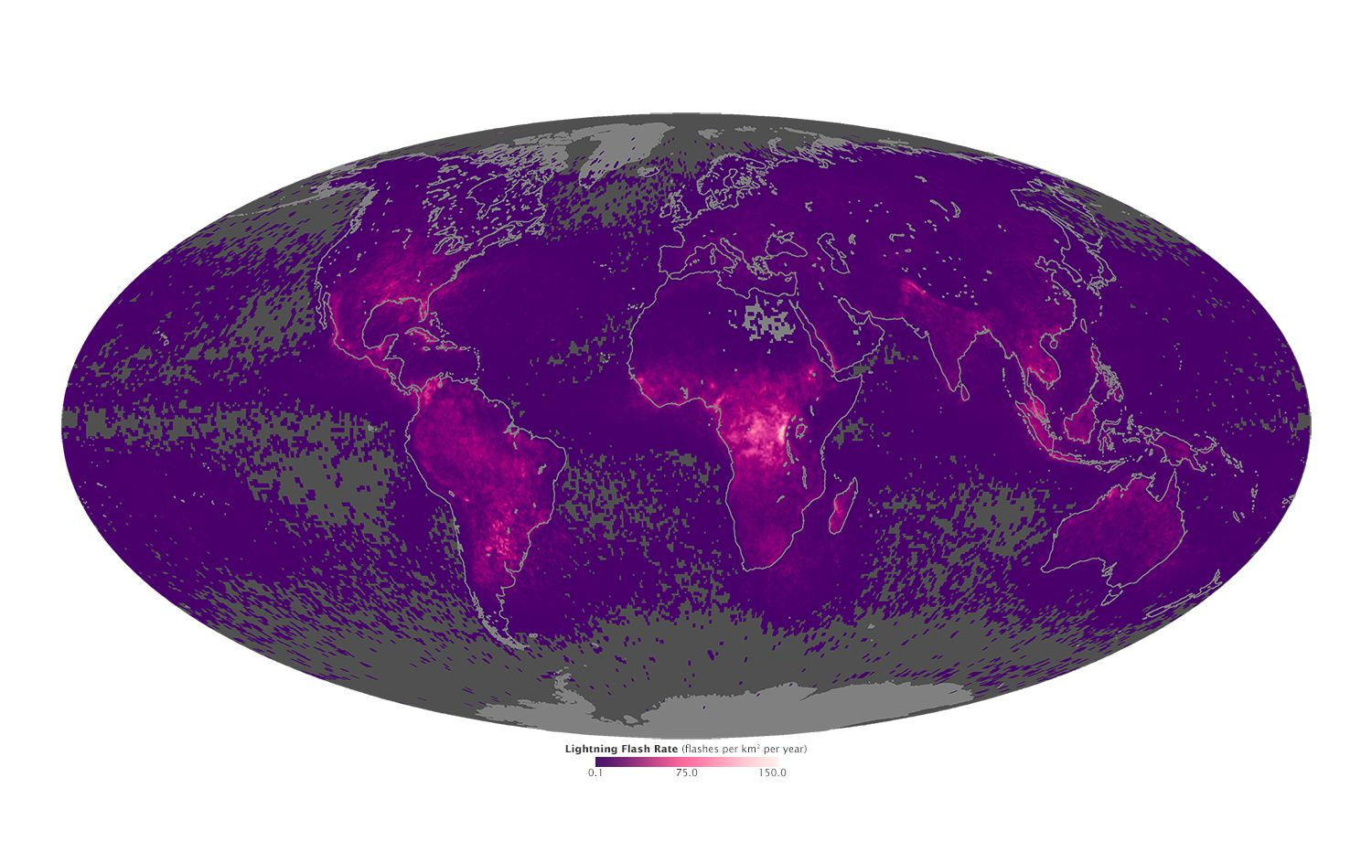 Nasa map shows where lightning strikes most around the world for Global shows