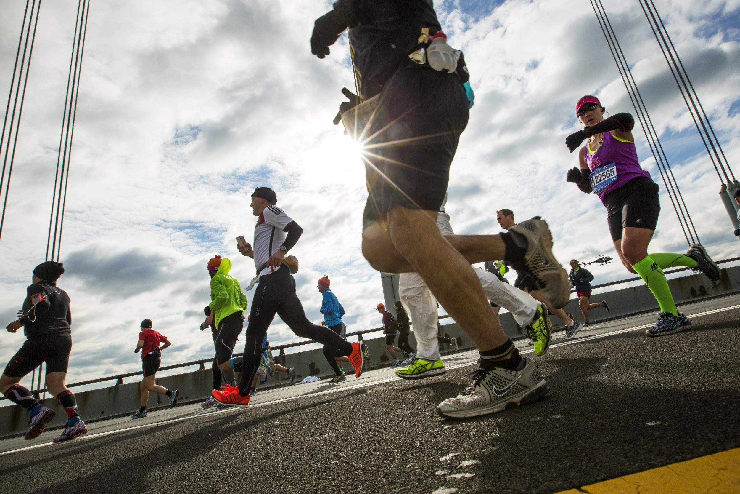Runners take part in the New York City Marathon, November 2, 2014