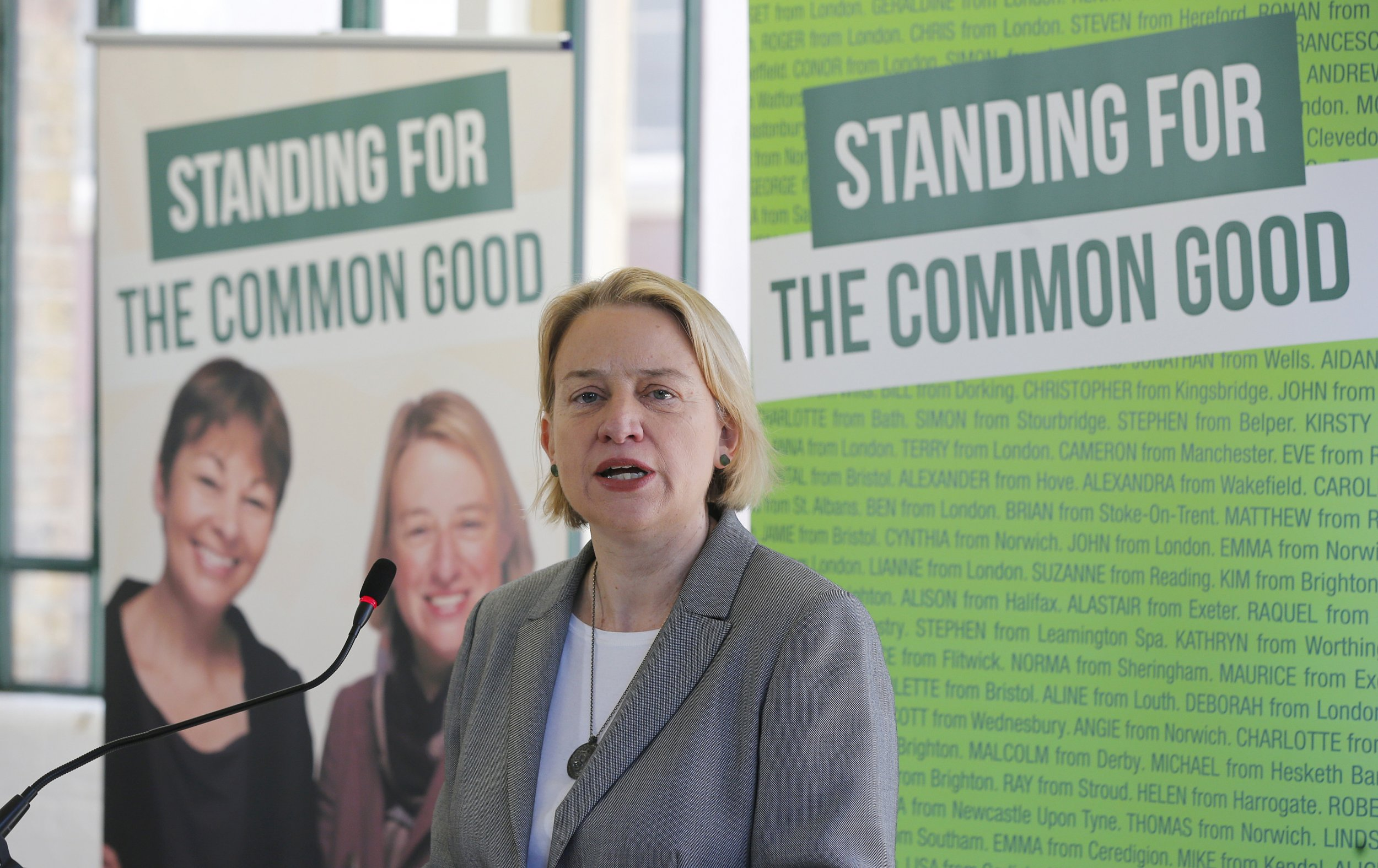 Britain's Green Party leader Natalie Bennett announces her party's election manifesto in east London April 14, 2015.