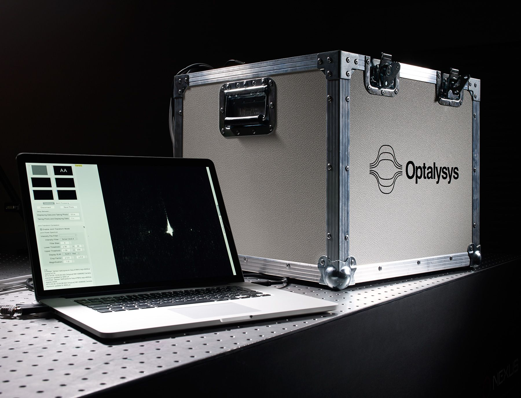 An Optalysys demonstrator model, which uses light to perform mathematical functions