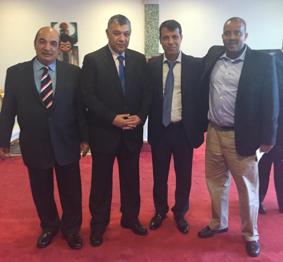 LR Deputy of Khaled Fawzy, Khaled Fawzy of Egyptian Intel, Dahlan, Ethiopian PM advisor Getachew Reda, at Addis Ababa airport