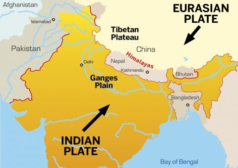 Indian and Eurasian plates